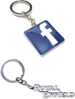 Alexus Facebook And Royal Enfield Metal Key Chain(Silver)