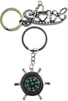 Alexus Compass And Love Key Chain(Silver)