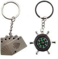 Alexus Card And Compass Key Chain(Silver)