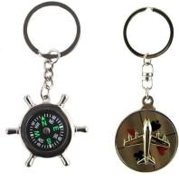 Alexus Compass And Aeroplane Key Chain(Silver)