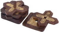 Store Indya Triangle Wood Coaster Set(Pack of 4)