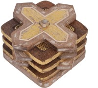 Store Indya Square Wood Coaster Set(Pack of 4)