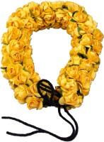 Majik Fancy Gajra With Imported Flowers Bun Decoration Hair Band(Yellow)