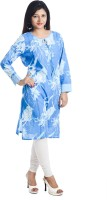 Aatisha Creations Casual Floral Print Women's Kurti(Blue)