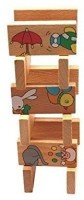 Bear Hard Wooden Animal Domino Puzzle for Kids Ages 18 Months+, 15 Pieces(15 Pieces)