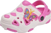 Yellow Bee Girls Sling Back Clogs(White)
