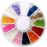 Azzuro 12 Candy Color Shiny Half Round Flatback Pearls Nail Art Stickers Tips 3D Decoration Wheel(Multicolor)
