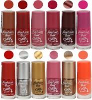 Fashion Bar Neon Nail Polish Combo 08 Multicolor(Pack of 12)