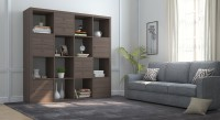 Urban Ladder Boeberg Engineered Wood Semi-Open Book Shelf(Finish Color - Dark Walnut)