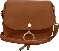 Tap Fashion Women Brown PU Sling Bag