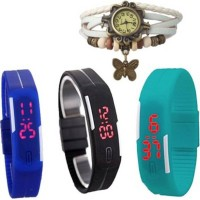 Rokcy LED & Butterfly Analog-Digital Watch - For Couple Watch  - For Girls