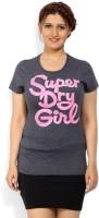 Superdry Printed Women's Round Neck Black, Grey T-Shirt