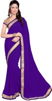 Sourbh Sarees Self Design, Solid, Printed Bollywood Georgette Saree(Purple)