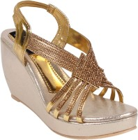 DICY Women Gold Wedges
