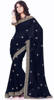 Sourbh Sarees Self Design Fashion Synthetic Georgette Saree(Dark Blue)