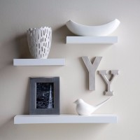 View Onlineshoppee Flotante 24 Inches MDF Wall Shelf(Number of Shelves - 3, White) Furniture (Onlineshoppee)