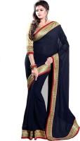 Sourbh Sarees Self Design, Solid, Printed Fashion Georgette Saree(Blue)