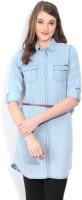 Flying Machine Women's Solid Casual Light Blue Shirt