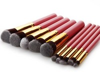 AGM � Professional Handle Cosmetic Kabuki Makeup Foundation Blending Brush Set Kit. (pink+gold)(Pack of 10)
