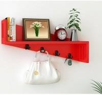 View india wooden handicraft Wooden Wall Shelf(Number of Shelves - 1, Red) Furniture (India Wooden Handicrafts)