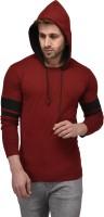 Kay Dee Color block Men Hooded Maroon, Black T-Shirt