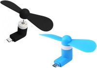 View De Techinn Pack Of 2 Mini Micro V8 Android Portable Fan For Android Smart Phone, Powerbank USB Fan(Multicolor) Laptop Accessories Price Online(De-TechInn)
