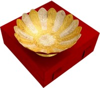 Shreeng 2 tone Lotus Shape Single Bowl Brass Decorative Platter(Gold, Silver)