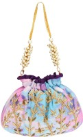 D'oro Party Favour Draw String Bag (Sky Blue) Potli(Blue)