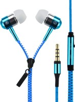 Quit-X �� Zipper Style Headset with Mic(Blue, In the Ear)