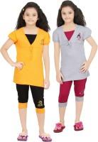 Bluntly Kids Nightwear Girls Printed Cotton(Multicolor Pack of 2)