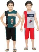 Bluntly Kids Nightwear Boys Printed Cotton(Multicolor Pack of 1)