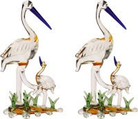AFAST Attractive Mother Bird Caring His Baby Bird In grass Gift-able Table Top, Suitable For Car Dashboard,Orange , Set Of 2 -SD46 Decorative Showpiece  -  16 cm(Glass, Multicolor)