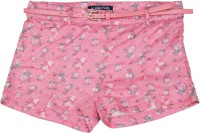 Allen Solly Junior Short For Girls Casual Printed Cotton(Pink, Pack of 1)