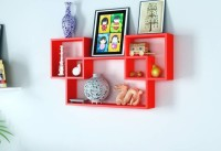 View OnlinePurchas Interconnected Wooden Wall Shelf(Red) Furniture (OnlinePurchas)