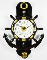 Baleno Crafts & Creations Analog 36 cm X 26 cm Wall Clock(Brown, With Glass)