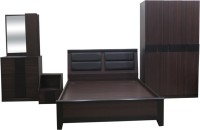 Eros Engineered Wood Bed + Side Table + Wardrobe + Dressing Table(Finish Color - Walnut Brown)