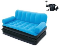 View GENEXTONLINE PVC 3 Seater Inflatable Sofa(Color - blue) Furniture (GENEXTONLINE)