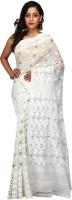 B3Fashion Woven Jamdani Handloom Muslin Saree(White)