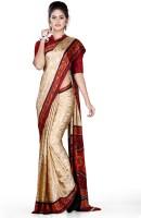 Uniform Sarees Corp Self Design Daily Wear Cotton Blend Saree(Red, Beige)