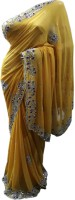 Stylish Sarees Self Design Fashion Synthetic Georgette Saree(Yellow)