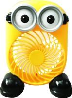 View Montez Mini Cartoon Theme Rechargeable Air Circulation Portable Fan HR8736 USB Fan(Yellow) Laptop Accessories Price Online(Montez)