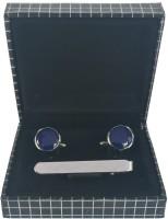 bnb Brass Cufflink & Tie Pin Set(Blue)