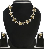 Zaveri Pearls Zinc Jewel Set(Gold, White)