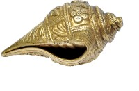 MP Crafts Brass Shankh Conch Shell Flower Design for Pooja, Home Temple, Showpiece, Home Decor, and Gift Decorative Shankh(Gold)