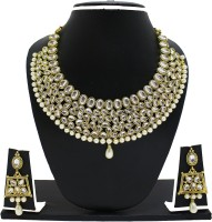 Zaveri Pearls Zinc Jewel Set(White, Gold)