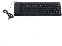 ReTrack Lightweight Ultra-Slim Portable Flexible Foldable Silent Silicon Wired USB Tablet Keyboard(Black)