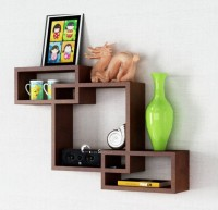 View MartCrown interconncted Wooden Wall Shelf(Number of Shelves - 3, Brown) Furniture (Martcrown)