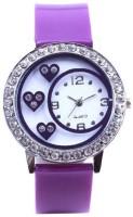 LEBENSZEIT BLUE DIAMOND STUDDED DESIGNER HEART SHAPE DIAL LATEST FASHION Watch  - For Girls