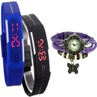 ROKCY Dori Butterfly & Rubber Led Pack of 3 Analog-Digital Watch - For Men & Women Watch  - For Girls