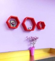 View Wooden Art & Toys na MDF Wall Shelf(Number of Shelves - 3, Red) Furniture (Wooden Art & Toys)